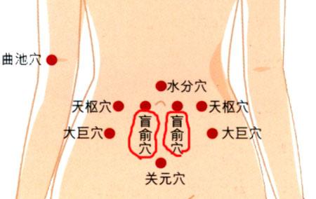 盲俞穴→治腹胀、便秘