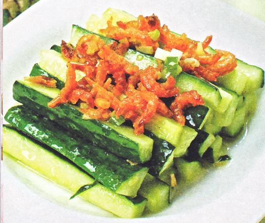 产后美颜月子食谱:海米炒黄瓜