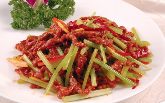 胃十二指肠溃疡药膳——芹菜炒牛肉丝