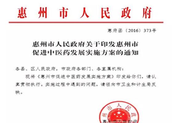 惠州市政府印发促进中医药发展实施方案